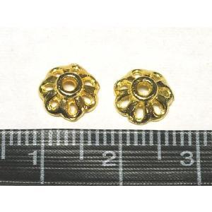 チベタン座金 アクセサリーパーツ フラワーデザイン ゴールド 約8mm  10個セット|b-soft