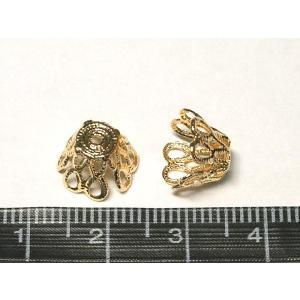 ベルキャップ アクセサリーパーツ 座金 ピンクゴールド 約10mm 10個セット 座金 ビーズキャップ b-soft