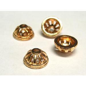 チベタン 座金 アクセサリーパーツ シンプル ピンクゴールド 約10mm 10個セット ビーズキャップ b-soft