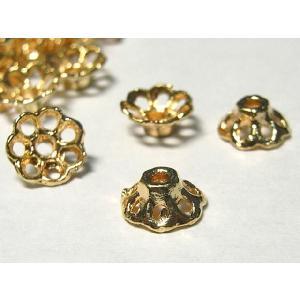 チベタン 座金 アクセサリーパーツ シンプル ピンクゴールド 約8mm 10個セット ビーズキャップ b-soft