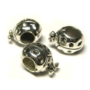 スペーサー てんとう虫デザイン アクセサリーパーツ 銀古美 約12×8mm  2個セット|b-soft