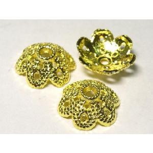 チベタン 座金 アクセサリーパーツ 約12mm フラワーキャップ ゴールド 10個セット b-soft