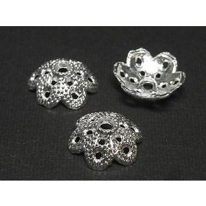 チベタン 座金 アクセサリーパーツ 約12mm フラワーキャップ 古代銀 10個セット b-soft