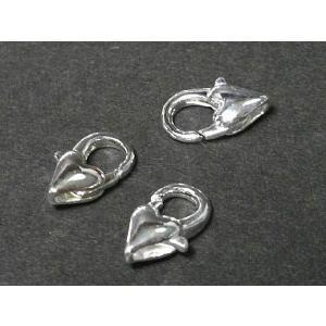 カニカンハート アクセサリーパーツ 約12×6mm 古代銀  2個セット販売|b-soft