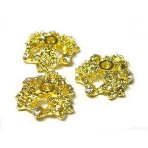 座金xラインストーン フラワーデザイン アクセサリーパーツ ゴールド 約12mm  2個セット b-soft