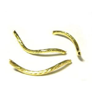 チューブ S字カーブ アクセサリーパーツ ゴールド 長さ約25mm 太さ約2mm  10個セット販売 b-soft