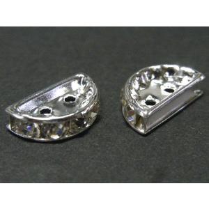 半円 ロンデル 2つ穴 古代銀 約13×7mm 1個|b-soft