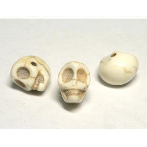 スカルビーズ ドクロ アクセサリーパーツ ホワイト サイズ:中 横穴 髑髏 ハウライト どくろ 骸骨 がいこつ ガイコツ|b-soft