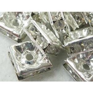 ロンデル アクセサリーパーツ 四角型 古代銀 8mm  約100個入り|b-soft