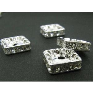 ロンデル アクセサリーパーツ 四角型 古代銀 10mm  約100個入り|b-soft