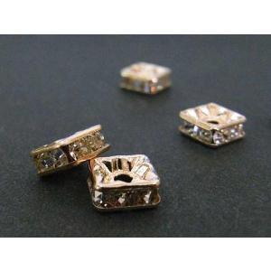 ロンデル アクセサリーパーツ 四角型 ピンクゴールド 6mm 約100個入り deala 四角ロンデル b-soft