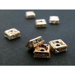 ロンデル アクセサリーパーツ 四角型 ピンクゴールド 5mm 約100個入り 四角ロンデル b-soft