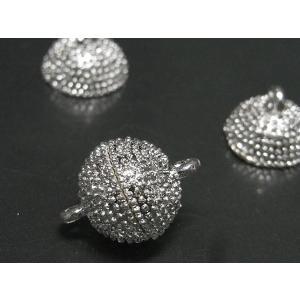 マグネットクラスプ アクセサリーパーツ 古代銀 約13mm  10個セット|b-soft