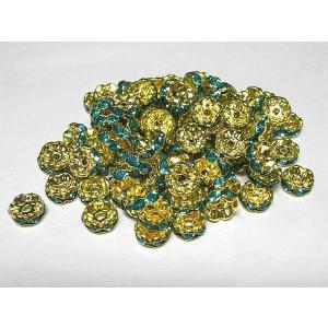 波ロンデル アクセサリーパーツ カラフルタイプ  ゴールド×アクアマリンカラー  約8mm  約100個セット b-soft