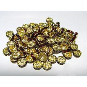 平ロンデル アクセサリーパーツ カラフルタイプ  ゴールド×ガーネットカラー  約8mm  約100個入り b-soft
