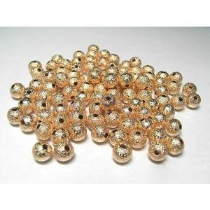 丸型スペーサー アクセサリーパーツ プレーン ピンクゴールド 約6mm  約50個セット|b-soft