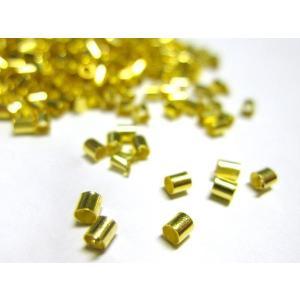 かしめ玉 筒型 ゴールド 約2×2mm  約1000個入り b-soft