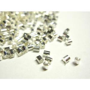 かしめ玉 筒型 古代銀 約2×2mm  約1000個入り|b-soft
