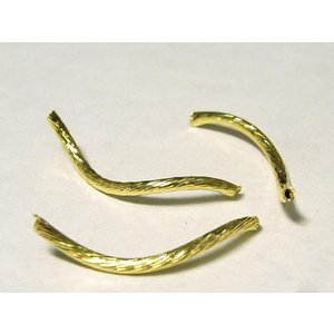チューブ S字カーブ アクセサリーパーツ ゴールド 長さ約25mm 太さ約2mm  約100個セット販売 b-soft