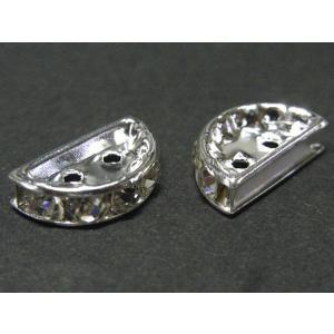 半円 ロンデル 2つ穴 古代銀 約13×7mm 10個セット|b-soft