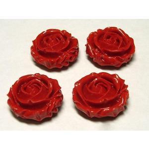 珊瑚 薔薇型ビーズ 両面彫 レッド 約20×9mm 4個 さんご サンゴ コーラル 山珊瑚 海竹 ハンドメイドアクセサリーパーツ|b-soft