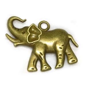 チャーム 象 真鍮古美 約33×30mm 5個セット販売|b-soft