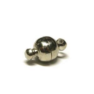 マグネットクラスプ ラウンド 古代銀 約10×6mm 【10個販売】|b-soft