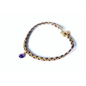chibi jewels チビジュエルズ ブレスレット Color Cord Bracelet with Gemstone パープル/アメジスト|b-t-f