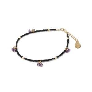 chibi jewels チビジュエルズ ブレスレット Glass Bead and Gemstone Bracelet ブラック/アメジスト|b-t-f