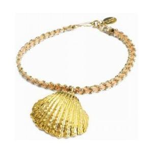 chibi jewels チビジュエルズ ブレスレット Pastel Cord Bracelet with Seashell Charm  ピーチ|b-t-f
