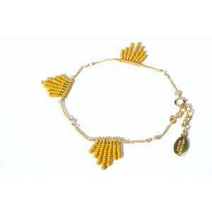 chibi jewels チビジュエルズ ブレスレット Glass Bead Fringe Bracelet マスタード|b-t-f
