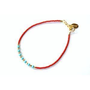 chibi jewels チビジュエルズ ブレスレット Glass Bead and Gemstone Accent Bracelet レッド/ターコイズ|b-t-f
