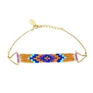 chibi jewels チビジュエルズ ブレスレット Beaded Diamond Pattern Braceletターコイズ/パンプキン|b-t-f