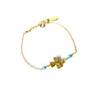 chibi jewels チビジュエルズ ブレスレット Native Bird Charm Bracelet 14kt gold-filled/ターコイズ|b-t-f