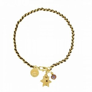 Blee Inara ブリーイナラ ブレスレット String and Chain Bracelet with Star of David/Gold-Brown|b-t-f