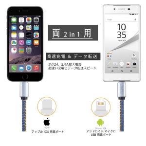 C3DM新品 iPhone/Android両用最新版デニム充電 USB ケーブル 高速データ転送両用...