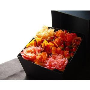 ボックスフラワー オレンジ 生花boxflower orange|baba0878