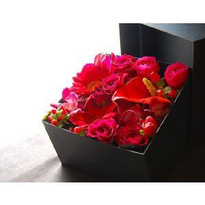 ボックスフラワー 赤 生花boxflower red|baba0878