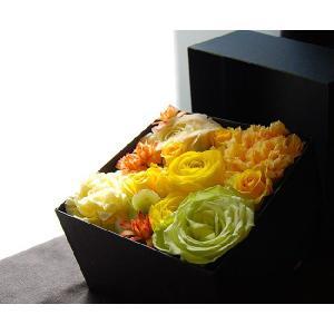ボックスフラワー イエロー 生花boxflower yellow ホワイトデー|baba0878