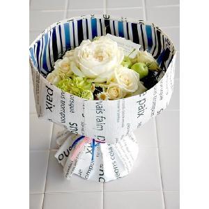 バラ 白 ギフト ラウンドブーケ そのまま飾れる 花束|baba0878