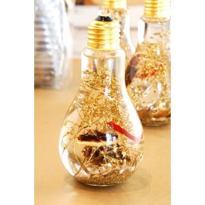 ハーバリウム 電球ボトル ゴールド|baba0878