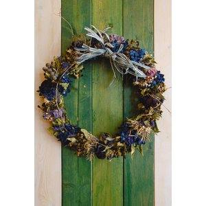 ドライフラワー ナチュラルリース2 青系色シャビーシック 30cm dried flower Wreath|baba0878