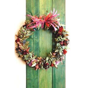 ドライフラワー ナチュラルリース3  30cm dried flower Wreath|baba0878