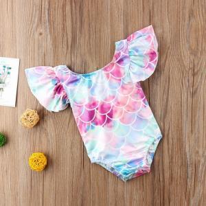 可愛らしい赤ちゃん用ロンパースです。  夏にピッタリの爽やかマーメイド風の鮮やかなデザインです。 と...