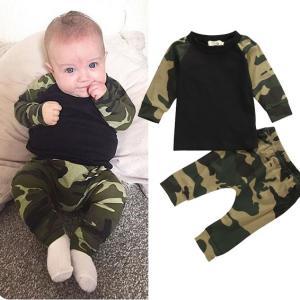 【Sale】ベビー 服 上下セットアップ カモフラ柄 パジャマ 長袖 赤ちゃん