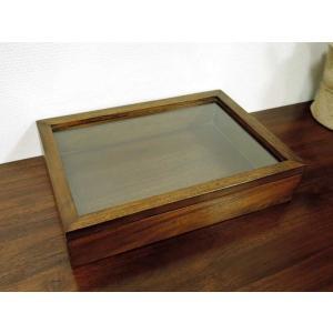 ガラス コレクションボックス M チーク コレクションケース ジュエリーケース アクセサリー インテリア アジアン雑貨 木製 天然木 おしゃれ 北欧 アジアン雑貨の写真