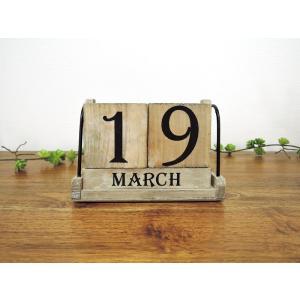 アンティーク風の木製カレンダー ギフト クラシック アジアン雑貨 輸入雑貨  Wood Cube C...