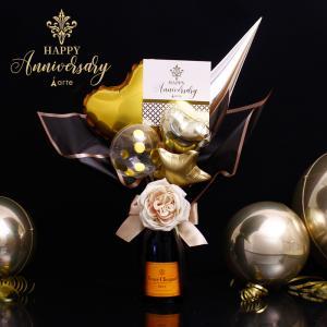 バルーン電報 結婚式 アレンジ シャンパン付/750ml 飾り/誕生日/プレゼント/開店祝い/スパークリング・750mlモエ or ヴーヴ付 ルチア バルーン・|baby-arte