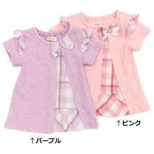 アシンメトリーな切替とチェックの生地使いの表情豊かなTシャツです( ^-^)♪子どもらしいピンクとち...
