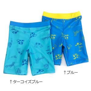 真夏のビーチ柄で元気に泳ぎたくなるスイムパンツ!濃淡ブルーの2色展開です☆兄弟でお揃いコーデにおすす...